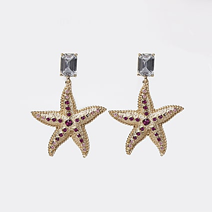 Gold starfish drop earring