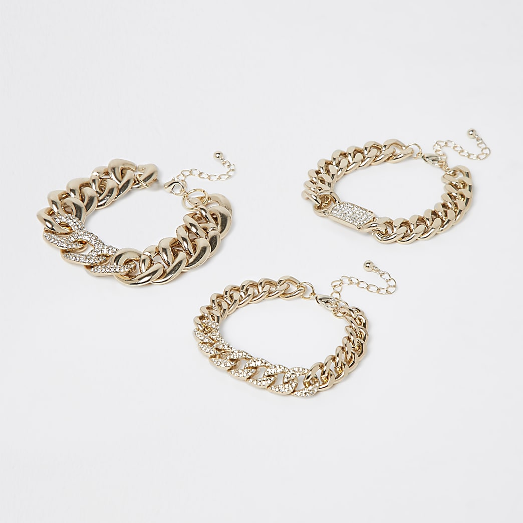 Gold statement chain 3 pack of bracelets