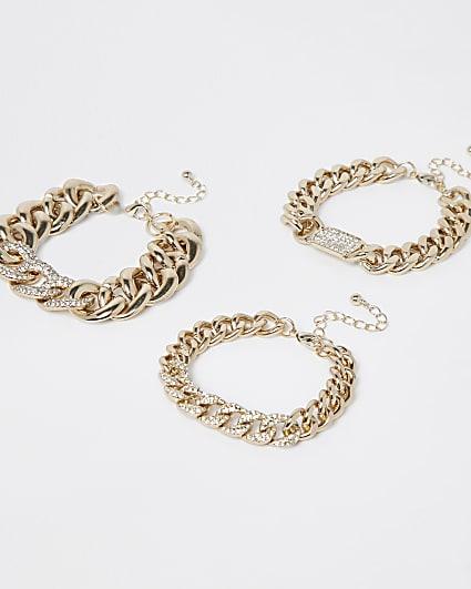 Gold statement chain bracelets multipack