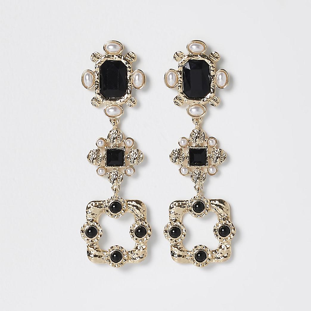Gold statement stone drop earrings