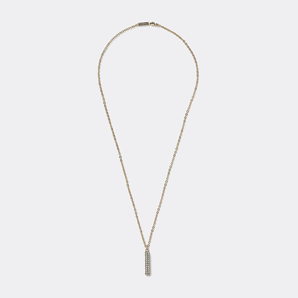Gold stick pendant necklace