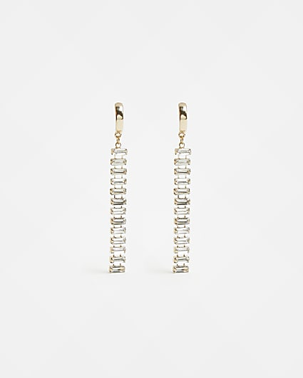 Gold stone baguette drop earrings