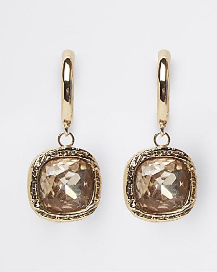 Gold stone drop earrings