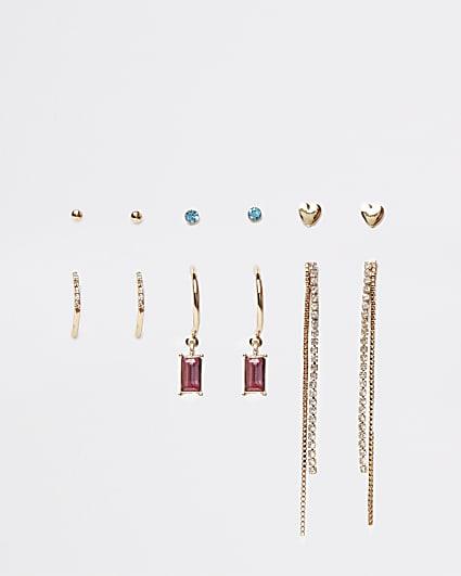 Gold stone earrings multipack