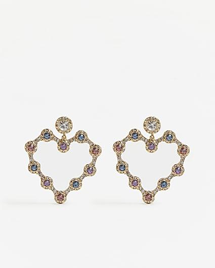 Gold stone embellished heart drop earrings