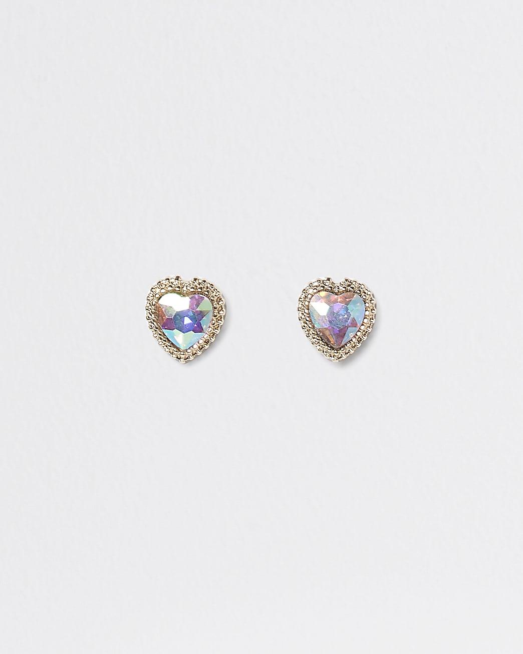 Gold stone heart stud earrings