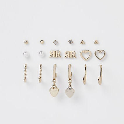 Gold stud & hoop earring set