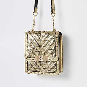 Gold studded boxy cross body bag