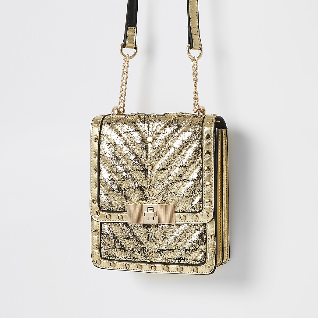 Gold studded boxy cross body bag