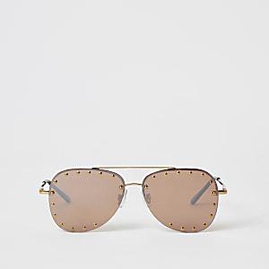 Rahmenlose Sonnenbrille in Gold mit Nieten