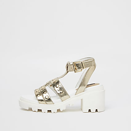 Gold studded strap chunky sandals