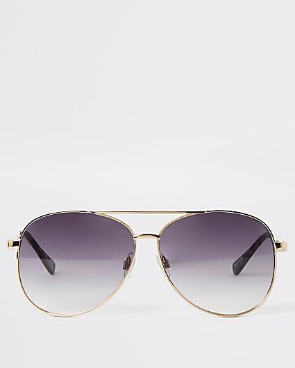 Gold textured arm aviator sunglasses