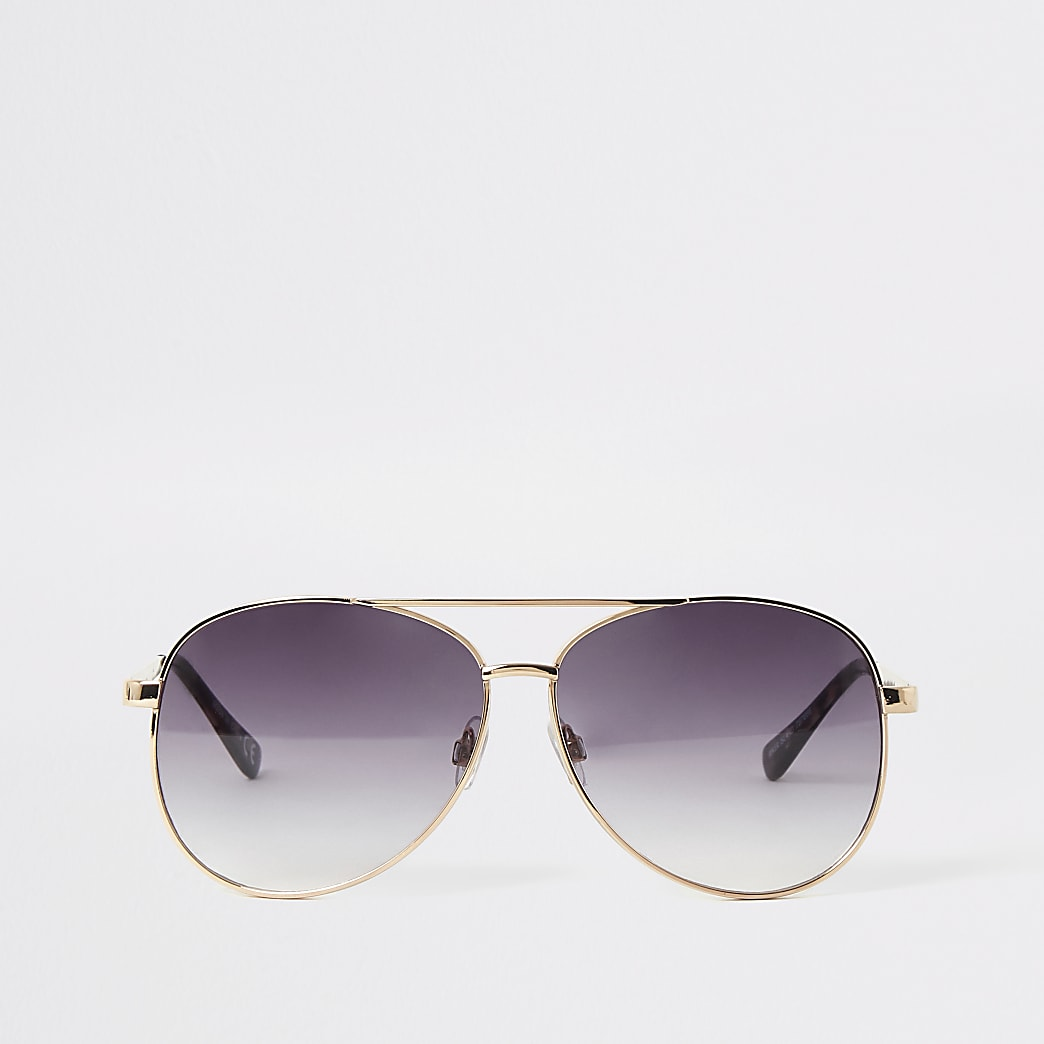 Gold textured arm aviator sunglasses