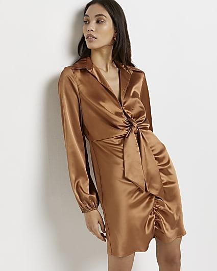 Gold tie front mini dress