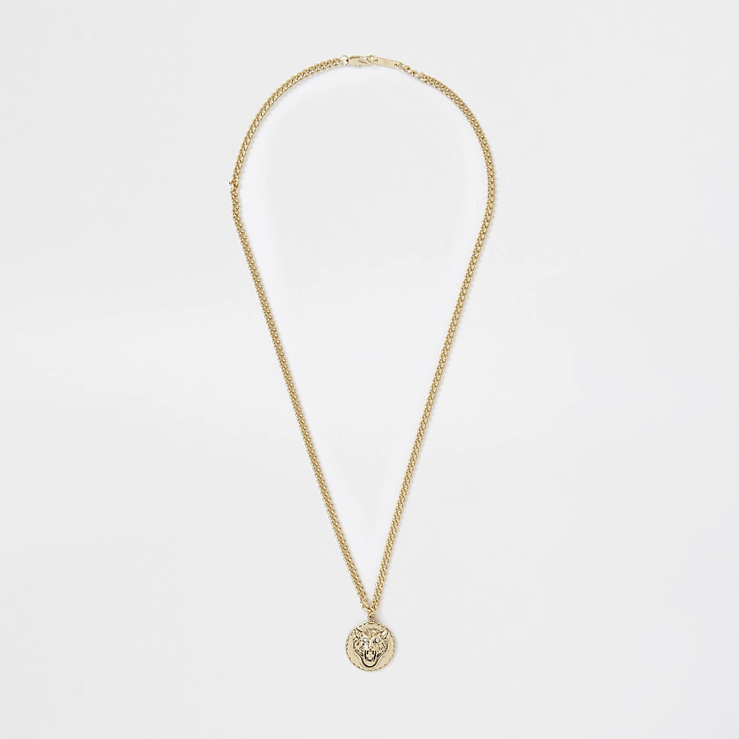 Gold tigers pendant necklace