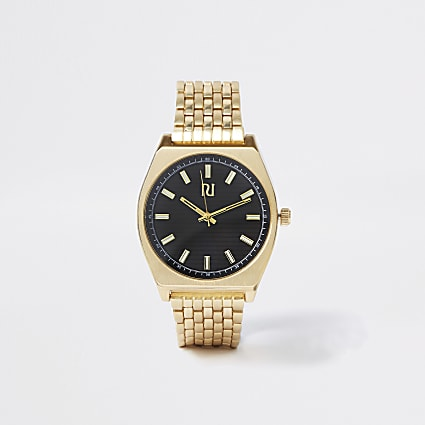 Gold tone black chain link retro watch