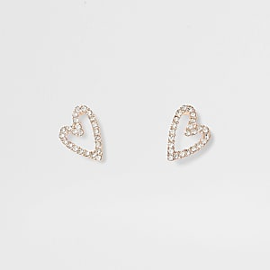 Gold tone crystal heart suds