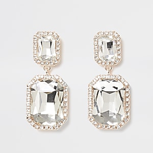 Gold tone crystal rectangle earring
