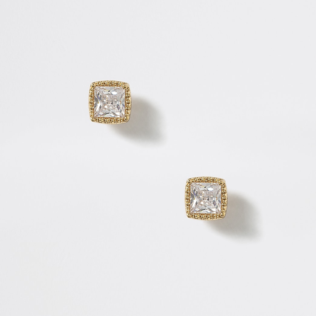 Gold tone cubic zirconia square stud earrings