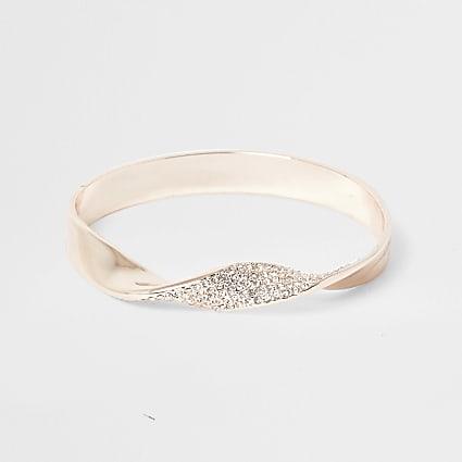 Gold tone diamante cuff bracelet