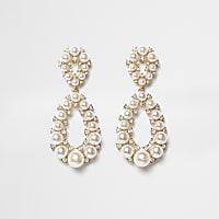 Gold tone faux pearl teardrop earrings