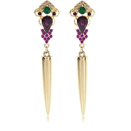 Gold tone gem stone drop earrings
