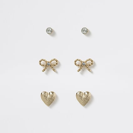 Gold tone heart and bow earring multi pack