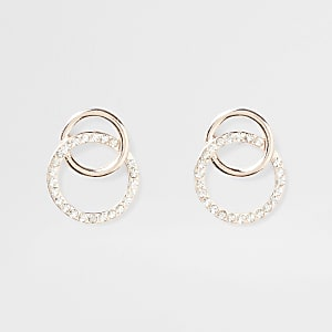 Gold tone Interlink dangle earring