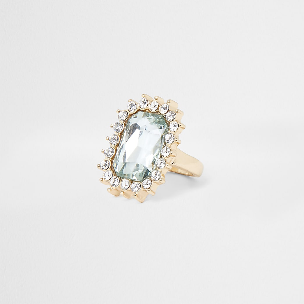Gold Tone Jeweled Cocktail Ring