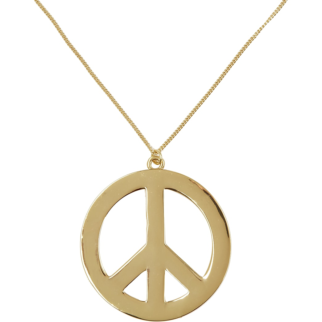 Gold tone peace sign long necklace