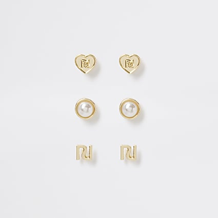 Gold tone pearl heart stud earrings 3 pack