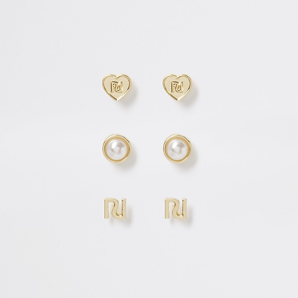 Gold tone pearl heart stud earrings 3 pack