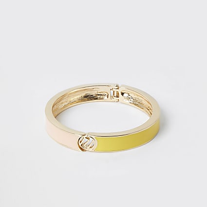 Gold tone RI enamel cuff bracelet