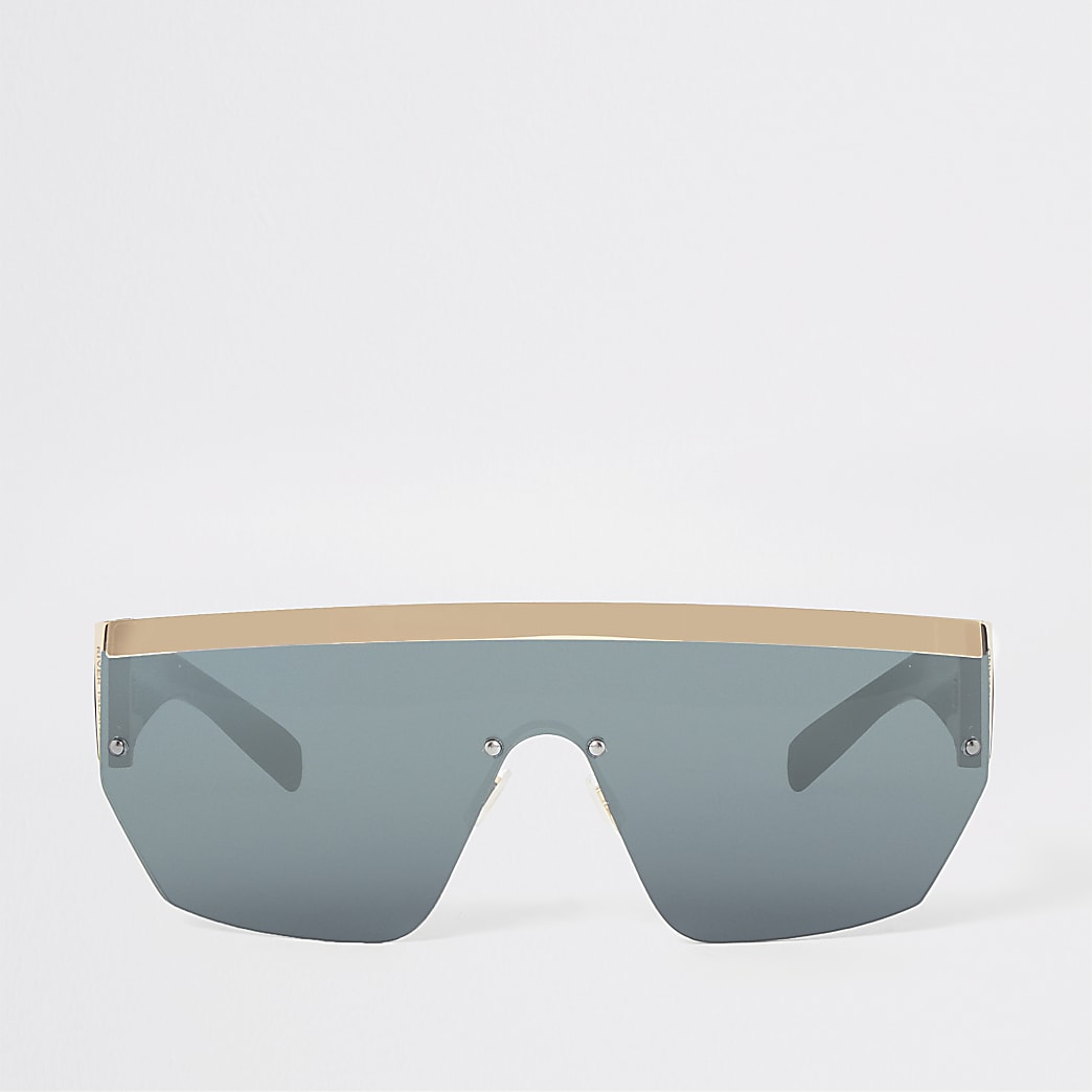 Gold tone visor flat top sunglasses