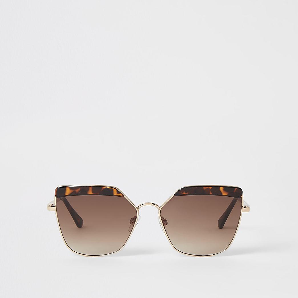 Retro-Sonnenbrille in Gold mit Schildpatt-Muster