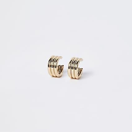Gold triple chunky hoop earrings