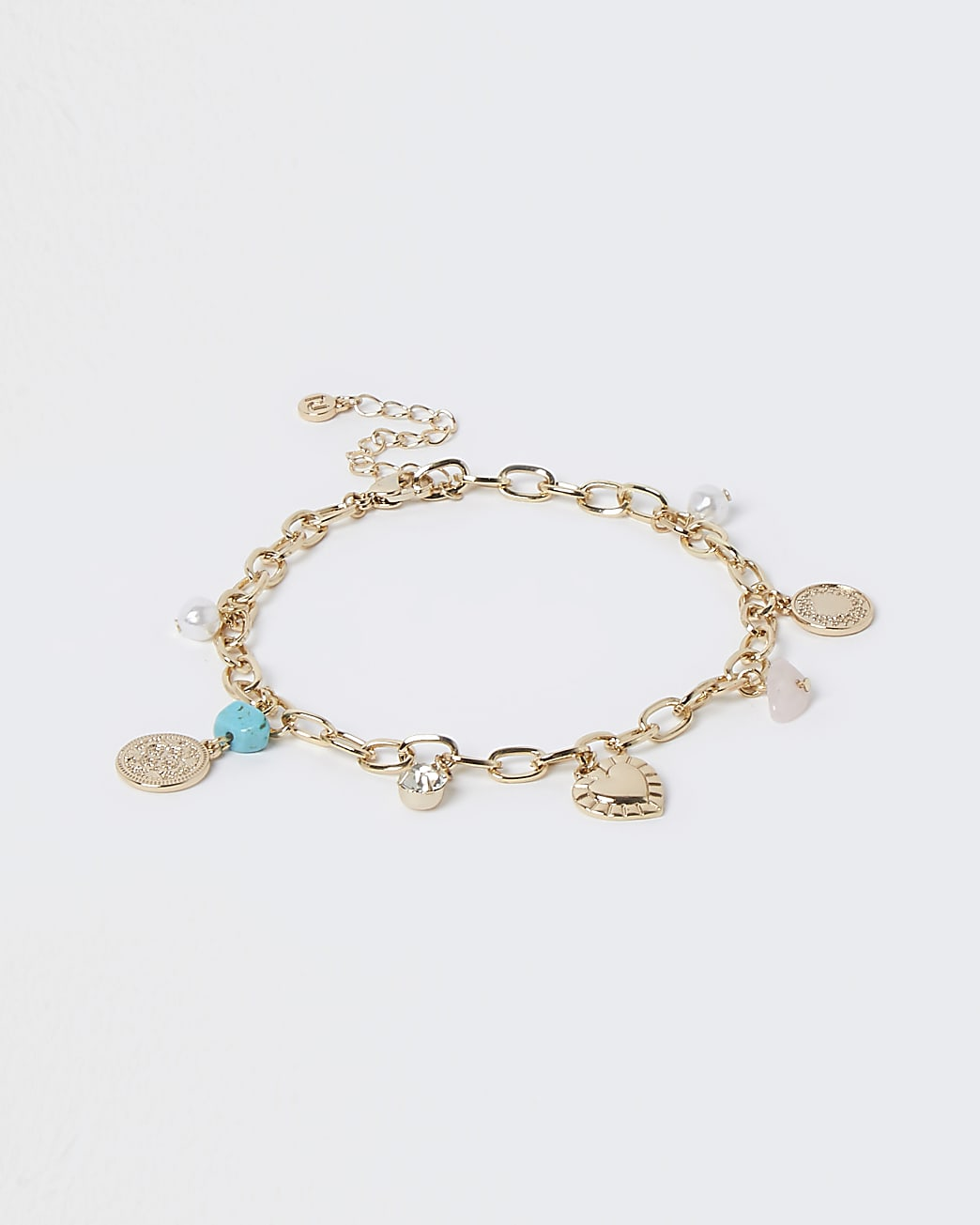 Gold turquoise charm anklet