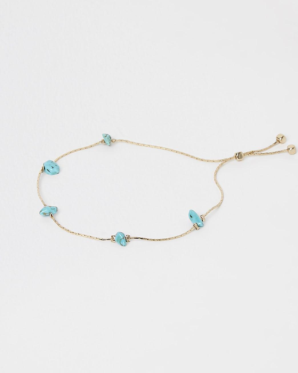 Gold turquoise stone bracelet