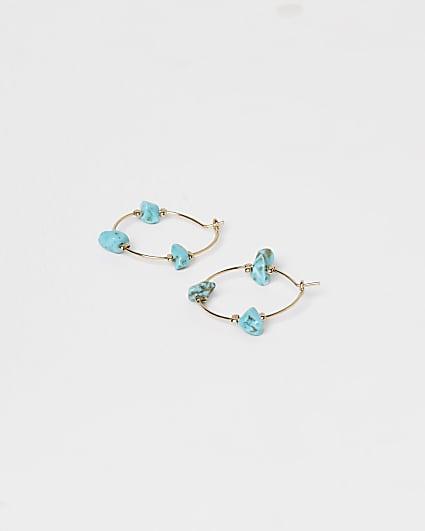 Gold turquoise stone hoop earrings