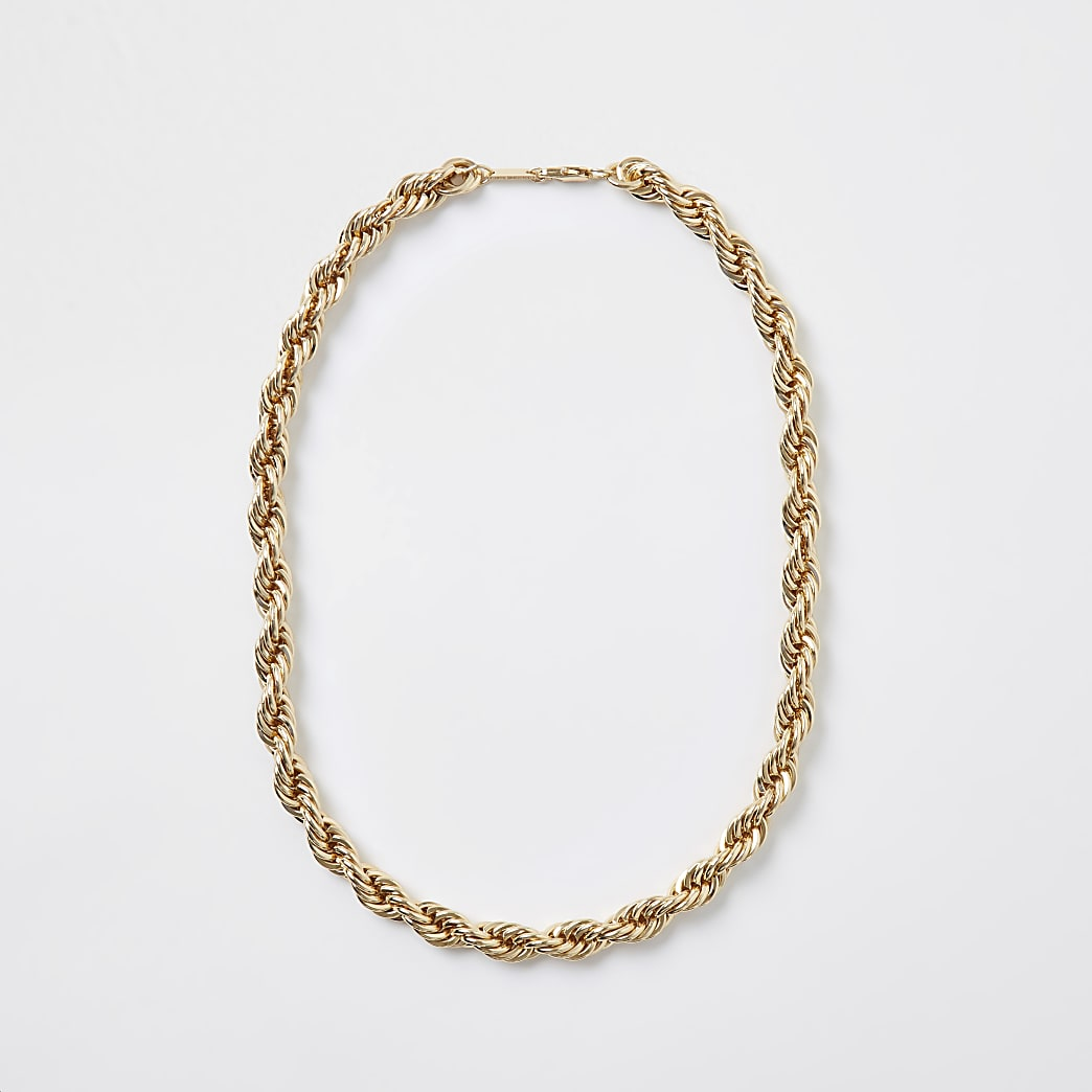 Gold twist chain necklace