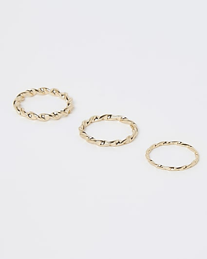 Gold twist stacking rings multipack