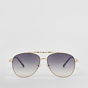 Pilotensonnenbrille in Gold mit Twisted Brow