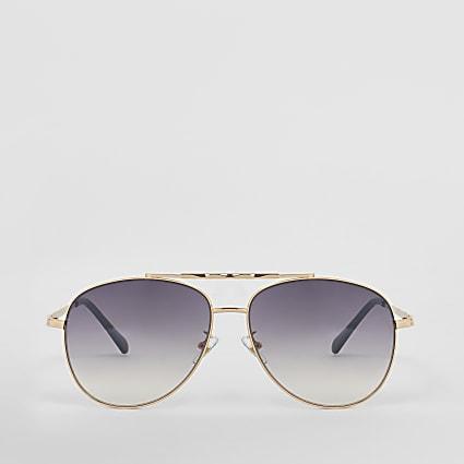 Gold twisted brow aviator sunglasses