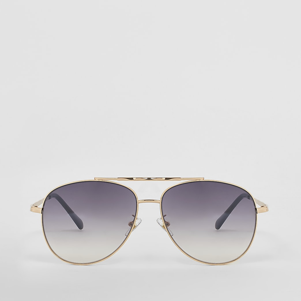 Gold twisted brow aviator sunglasses