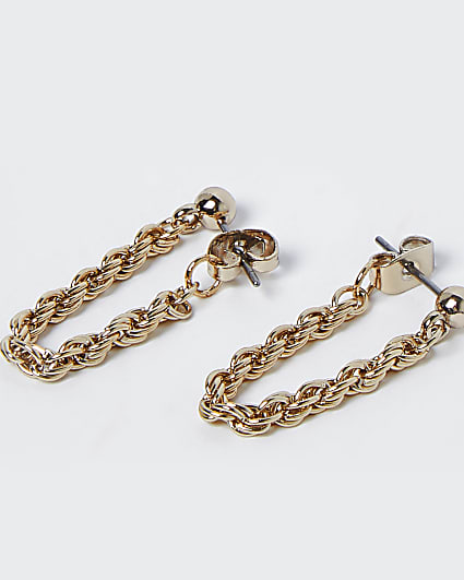 Gold twisted chain drop earrings