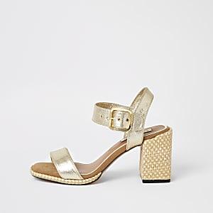 Goudkleurige tweedelige sandalen met blokhak
