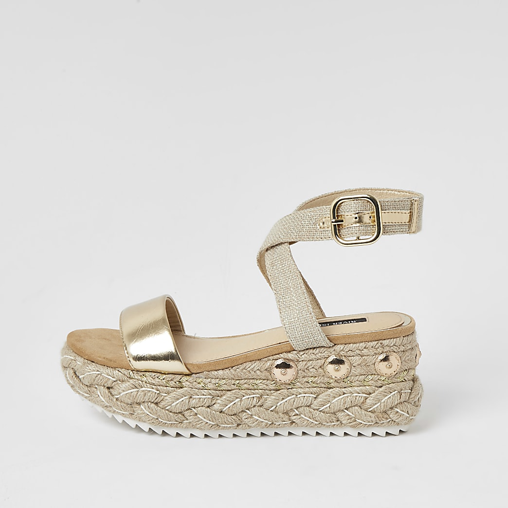 Gold two part espadrille wedge sandals
