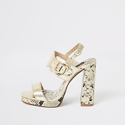 Gold two part wide fit platform sandals