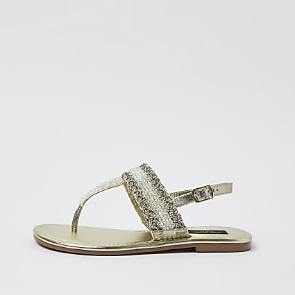 Gold wide fit bead toe thong sandals