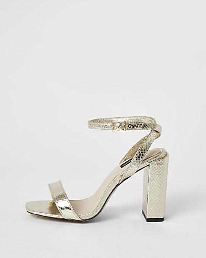 Gold wide fit block heel sandal